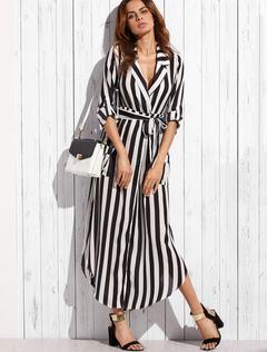 Chiffon Maxi Dress Black Turndown Collar Long Sleeve Striped Shirt Dress With Sash
