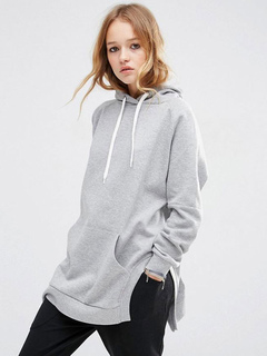 Longline Women's Hoodie Light Grey Side Slit Long Sleeve Casual Hoodie