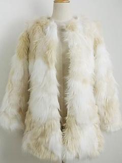 Faux Fur Coat White Jewel Collar Long Sleeve Outerwear For Women