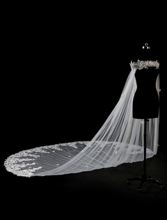 Cathedral Wedding Cape Lace Applique Ivory 3D Flower Long Bridal Shawl