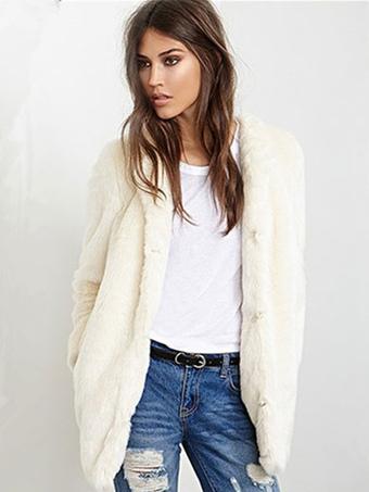 Faux Fur Coat Longline Women's Round Collar Ecru White Winter Fluffy Coat