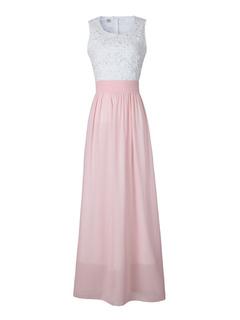 Pink Maxi Dress Lace Hollow Out Women's Sleeveless Chiffon Long Dress