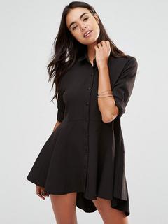 Women's Shirt Dress Black Turndown Collar Long Sleeve High Low Pleated Skater Dress