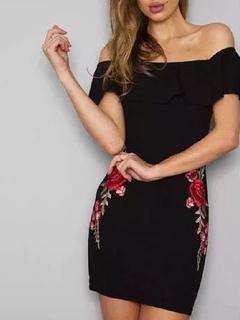 Women's Mini Dress Off The Shoulder Short Sleeve Embroidered Ruffles Wrap Dress