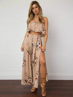 490b9ab9f7 2 Piece Skirt Set Boho Pink Floral Printed Strapless Sleeveless Top With  Slit Maxi Pant