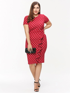 Cotton Bodycon Dress Oversized Round Neck Short Sleeve Ruffles Polka Dot Wrap Dress