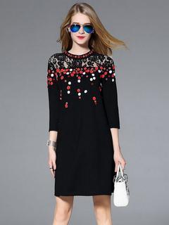 Black Shift Dress Women's Illusion 3/4 Sleeve Summer Dress
