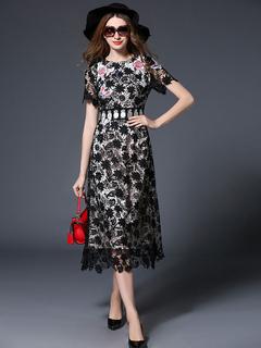 Women's Lace Dress Round Neck Short Sleeve Luxuriously Embroidered Irregular Hem Elegant Dress