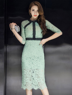 Green Lace Dress Round Neck Half Sleeve Slim Fit Bodycon Dress For Women