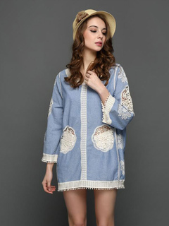 Blue Cover Ups Lace Round Neck 3/4 Length Sleeve Beach Wear