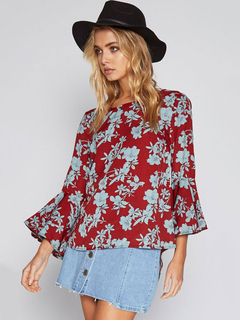 Chiffon Red Blouse Round Neck Bell 3/4 Length Sleeve Floral Printed Casual Top
