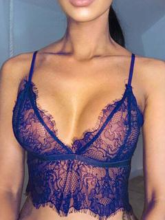 Lace Cami Top Women's Plunging Neckline Spaghetti Strap Irregular Hem Sexy Sheathy Camis
