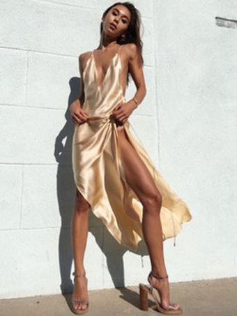 Apricot Club Dress Plunging Neckline Sleeveless High Slit Backless Sexy Club Wear