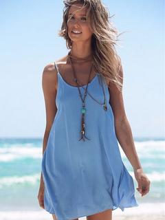 Blue Slip Dress Women's Spaghetti Strap Round Neck Pleated Backless Criss Cross Summer Dress