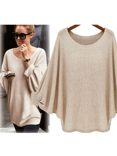 Women's Pullover Sweater Jewel Neck Batwing Long Sleeve Knit Sweater