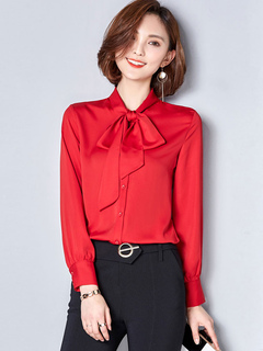 Chiffon Red Blouse Embellished Collar Long Sleeve Casual Top For Women