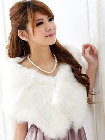 White Wedding Shawl Faux Fur Stole Fluffy Bridal Wrap Shrug