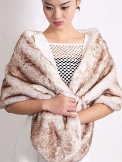 Faux Fur Stole Wedding Shawl Light Brown Fluffy Bridal Wrap Shrug