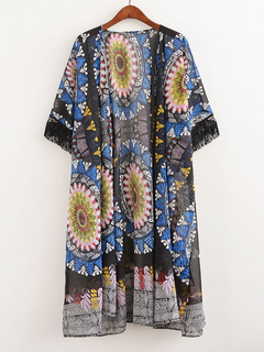 Beach Cover Ups Chiffon Bohemian Printed Fringe Open Front Swim Cover Up
