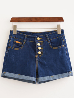 Blue Denim Shorts Women's Low Rise Buttons Up Scratches Straight Leg Cuffed Jeans