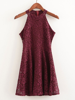 Women's Lace Dress Dark Red Round Neck Sleeveless Pleated Skater Dress