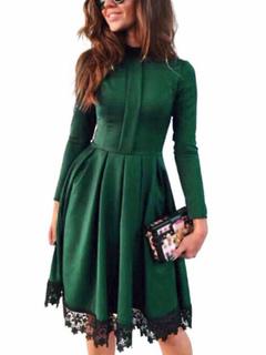 Women's Skater Dress Lace Trim High Collar Long Sleeve Pleated Flare Dress