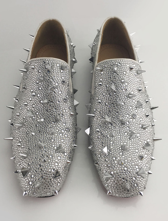 2f7b98f6912 Silver Men Loafers 2019 Prom Shoes Leather Glitter Rivets Slip On Spike  Shoes