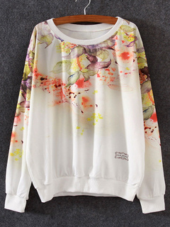 Printed White Sweatshirt Pullover Women's Casual Crewneck Hoodie Top