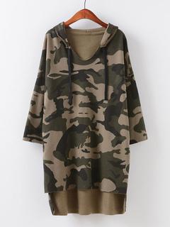 66158fc76b458 Camo Pullover Sweatshirt Oversized Hooded Drawstring Long Sleeve High Low  Casual Hoodie