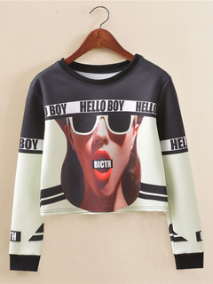 Black Crop Top Round Neck Long Sleeve Printed Casual Top