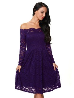 Plum Lace Dress Off The Shoulder Long Sleeve Pleated Skater Dress For Women