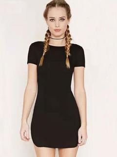 Black T Shirt Dress Lace Up Women's Short Sleeve Pencil Dress