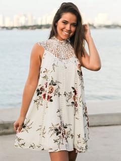 White Shift Dress Crewneck Sleeveless Floral Printed Short Dress For Women