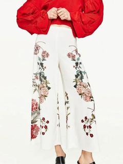 Women's White Culotte Floral Print Wide Leg Trousers