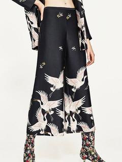 Wide Leg Trousers Women's Crane Bird Print Culotte