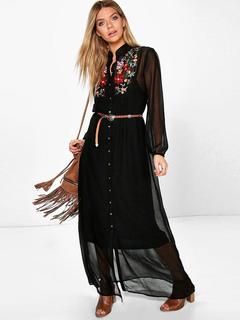 Black Maxi Dress Embroidered Metallic Detail Stand Collar Long Sleeve Semi Sheer Long Dress