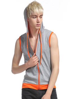 Men's Cotton Tank Hooded Drawstring Piping Color Block Zipper Up Hip Hop Style Chic Top