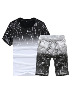 2 Piece Outfit Men's Two Tone Round Neck Short Sleeve Regular Fit Sport Top And Shorts