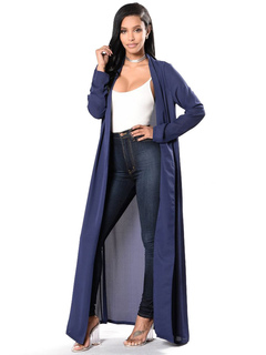 Chiffon Cover Ups Deep Blue Long Sleeve Oversized Swim Cover Up