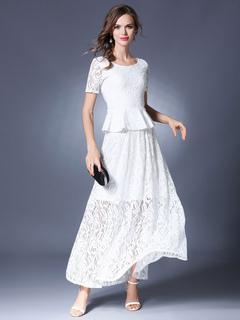 White Lace Dress Round Neck Short Sleeve Peplum Slim Fit Maxi Dress For Women