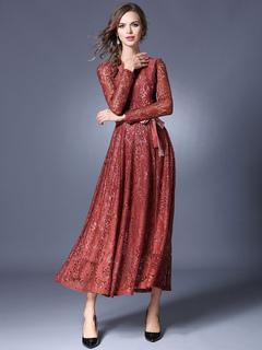 Burgundy Maxi Dress Round Neck Long Sleeve Pleated Slim Fit Maxi Dress