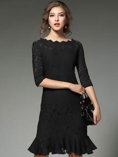 Black Lace Dress Bateau Half Sleeve Ruffle Hem Slim Fit Bodycon Dress