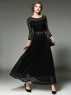 Black Maxi Dress Jewel 3/4 Length Sleeve Slim Fit Maxi Dress For Women