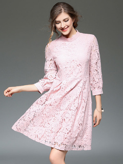 Pink Lace Dress Stand Collar 3/4 Length Sleeve A Line Slim Fit Dress For Women