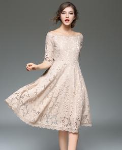 Women Lace Dress Off Shoulder A Line Half Sleeve Spring Swing Dress