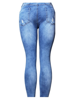 Blue Ripped Jeans High Rise Distressed Cut Out Skinny Women's Denim Pants