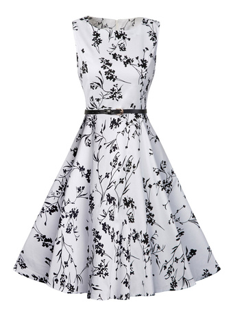 White Vintage Dress Round Neck Floral Printed Sleeveless Pleated Fit Flare Dress With Belt