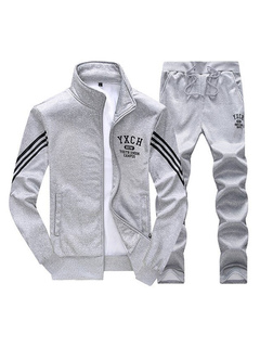 Grey Sweat Suits Men's Striped Long Sleeve Summer Track Suits