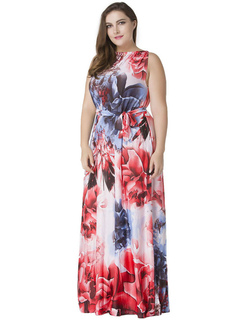 Floral Maxi Dress Plus Size Women's Sleeveless Printed Summer Long Dresses