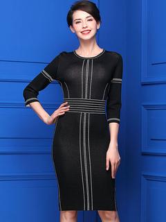 Black Sweater Dress Round Neck 3/4 Length Sleeve Slim Fit Bodycon Dress